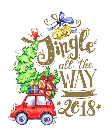 Greeting card of hand-drawn lettering, watercolor car with tree and holidays decorations. Christmas text for invitation and greeting card, prints and posters. Calligraphic winter design.