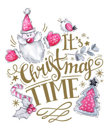 Wenskaart van handgetekende letters, aquarel kerstman met boom en vakantie decoraties. Kersttekst voor uitnodiging en wenskaart, prenten en affiches. Kalligrafisch winterontwerp. Stockfoto