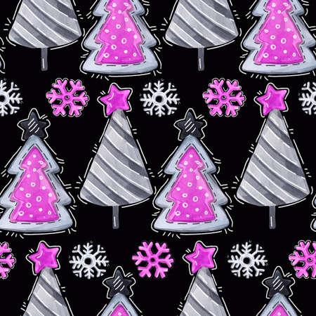 Aquarel naadloze groet patroon. Nieuwjaar achtergrond. Viering illustratie. Vrolijk kerstfeest. Cartoon sparren, sneeuwvlokken. Kan worden gebruikt in de winter vakantie ontwerp, posters, uitnodigingen, kaarten.