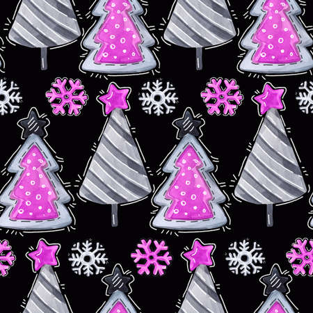 Watercolor seamless greeting pattern. New Year background. Celebration illustration. Merry Christmas party. Cartoon firs, snowflakes. Can be use in winter holidays design, posters, invitations, cards.