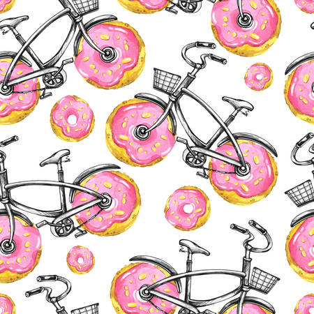 donut style: Watercolor seamless pattern bicycles with donuts wheels. Colorful summer background. Original hand drawn illustration. Delicious food. Lifestyle and sport.