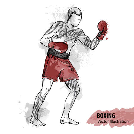 Hand sketch of a boxing man. Vector sport illustration. Watercolor silhouette of the athlete with thematic words. Text graphics, lettering.