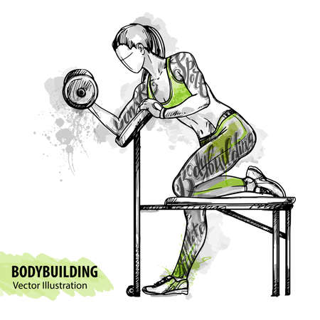 Hand sketch of a girl is training with dumbbells. Vector sport illustration. Watercolor silhouette of the athlete with thematic words. Text graphics, lettering.