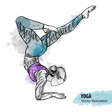 Hand sketch of a girl doing yoga. Vector sport illustration. Watercolor silhouette of the athlete with thematic words. Text graphics, lettering. Illustration