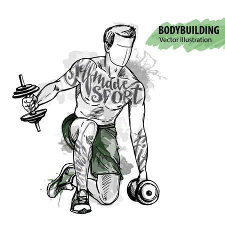 Hand sketch of a man is training with dumbbells. Vector sport illustration. Watercolor silhouette of the athlete with thematic words. Text graphics, lettering. Stock Illustratie