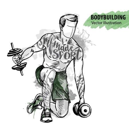 Handskizze eines Mannes bildet mit Dummköpfen aus. Vektorsportabbildung. Aquarellschattenbild des Athleten mit thematischen Wörtern. Textgrafiken, Schriftzug. Vektorgrafik