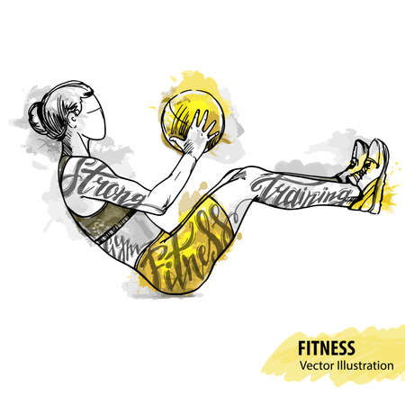 Hand sketch of a girl is training with a ball. Vector sport illustration. Watercolor silhouette of the athlete with thematic words. Text graphics, lettering.