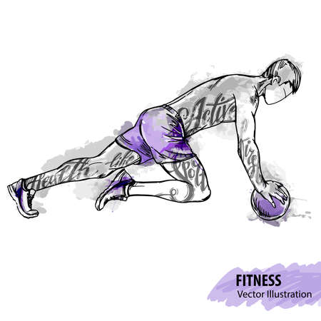 Hand sketch of a man is training with a ball. Vector sport illustration. Watercolor silhouette of the athlete with thematic words. Text graphics, lettering.