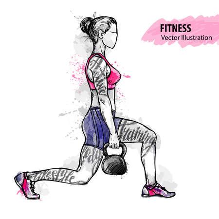 Bosquejo de la mano de una niña está entrenando con peso. Vector deporte ilustración. Acuarela silueta del atleta con palabras temáticas. Gráficos de texto, letras.