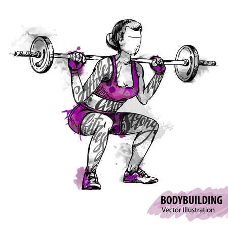Hand sketch of a women with a barbell. Vector sport illustration. Watercolor silhouette of the athlete with thematic words. Text graphics, lettering.