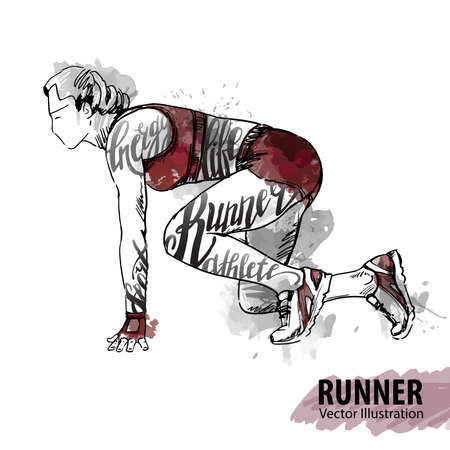 Hand sketch of a woman runner ready to start. Vector sport illustration. Watercolor silhouette of the athlete with thematic words. Text graphics, lettering. Illustration