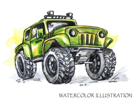Hand drawn card with big car. Watercolor multicolor illustration. Active crazy sport. Transport. Perfect for blogs, lettering, pattern, invitation, t-shirt, print