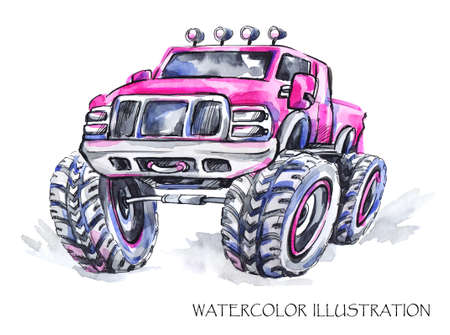 jeep: Hand drawn card with big car. Watercolor multicolor illustration. Active crazy sport. Transport. Perfect for blogs, lettering, pattern, invitation, t-shirt, print
