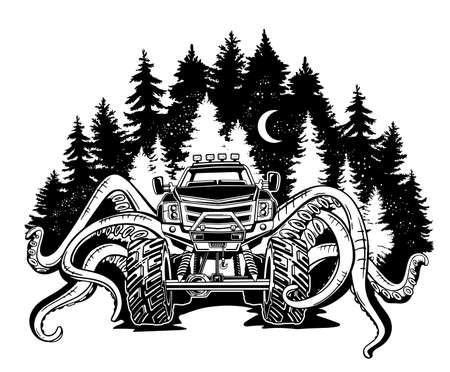 Vector Monster truck with tentacles of the mollusk and forest landscape. Mystical animal car tattoo. Adventure, travel, outdoors art symbols. 4x4. Off Road. Fantastic creature.