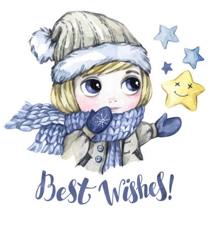 Winter Holidays Illustration. Watercolor Little Boy Looks At.. Stock ...