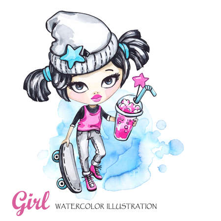 t shirt model: Summer sport illustration. Watercolor card grunge girl with skateboard and lemonade. Teenager. Can be printed on T-shirts, bags, posters, invitations, cards, phone cases, pillows. Place for your text. Stock Photo
