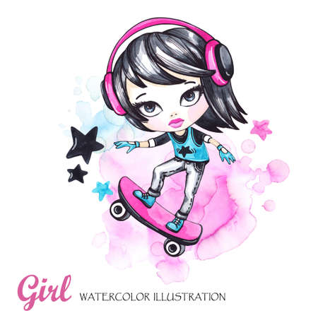 Summer illustration. Watercolor card skateboarder girl with headphones. Teenagers. Have fun. Can be printed on T-shirts, bags, posters, invitations, cards, phone cases, pillows. Place for your text