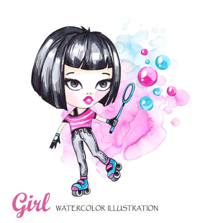 Hand drawn bright illustration. Watercolor card roller girl with bubbles. Teenagers. Have fun. Can be printed on T-shirts, bags, posters, invitations, cards, phone cases, pillows. Place for your text.