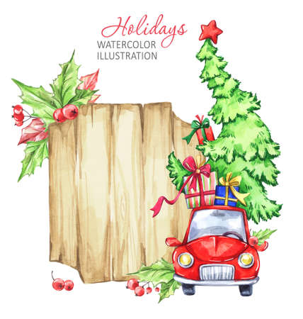 Winter watercolor greeting card, wooden frame with retro car, Christmas tree. Vintage Merry Christmas and Happy New Year illustration Stock Photo