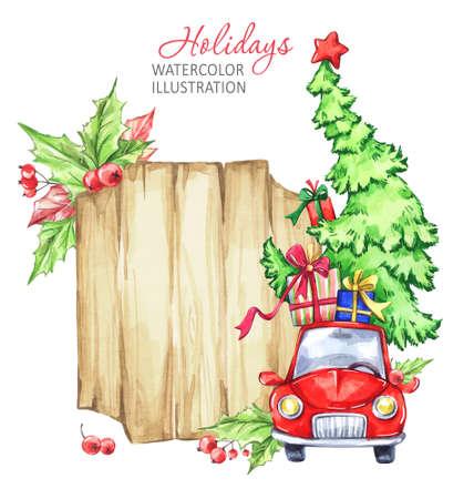 Winter aquarel wenskaart, houten frame met retro auto, kerstboom. Uitstekende Vrolijke Kerstmis en Gelukkige Nieuwjaarillustratie