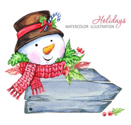 겨울 휴가 그림입니다. 눈사람와 수채화 나무 프레임입니다. 크리스마스, 새 해 기호입니다.