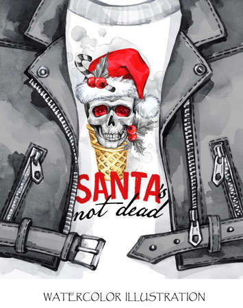 Watercolor illustration. Winter holidays card. Hand painted leather jacket with skull in Santa hat. Words Santa is not dead. Rock style girl. Christmas, New Year symbol.