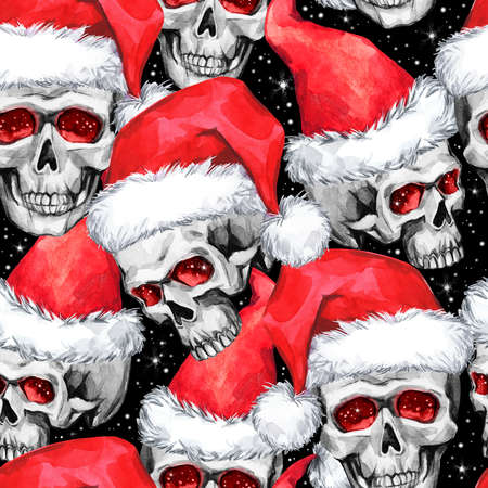 Watercolor seamless pattern with sketchy skulls in Santa hat. Cretive New Year. Celebration illustration. Can be use in winter holidays design, posters, invitations, cards.