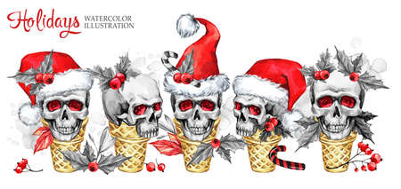 Watercolor horizontal garland of waffle cones with sketchy skulls in Santa hat, berries, leaves. Cretive New Year. Celebration illustration. Can be use in winter holidays design, posters, invitations. Stock Photo
