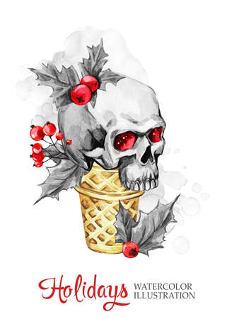 Watercolor illustration. Winter holidays card. Hand painted waffle cone with skull. Funny ice cream dessert. Christmas, New Year symbol.