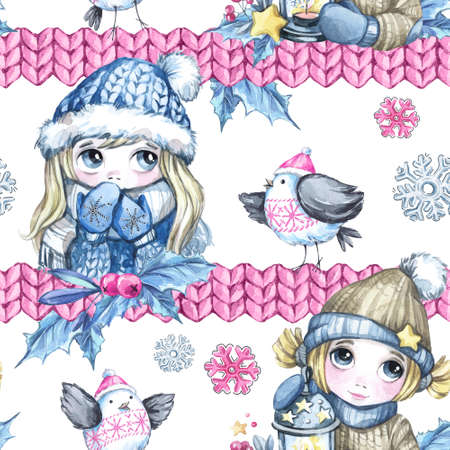 Watercolor seamless pattern with cartoon cute children, flying birds and knitted borders. New Year. Celebration illustration. Merry Christmas. Can be use in winter holidays design.