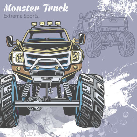Monster Truck on the sport background with splashes and sketch. Retro vector illustration for extreme sports, Adventure, travel, outdoors art symbols. Off Road can be used in sport, travel design.