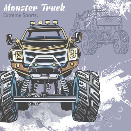 Monstervrachtwagen op de sportachtergrond met plonsen en schets. Retro vectorillustratie voor extreme sporten, avontuur, reizen, buitenshuis kunst symbolen. Off Road kan worden gebruikt in sport, reisontwerp.