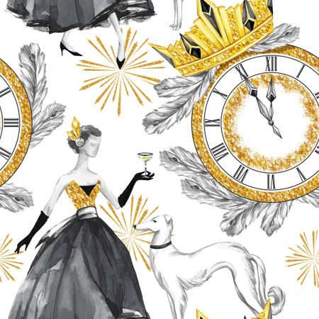 old people: Watercolor seamless pattern in retro gold style. Beautiful woman with champagne, Greyhound dogs, jewellery clock, diadem, fir branches. Vintage New Year illustration. For anniversary, holidays design.