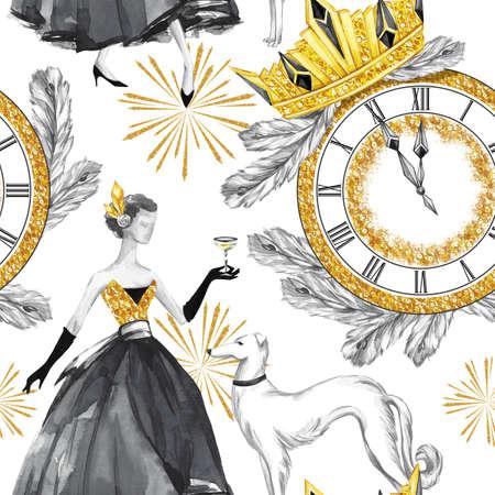 Waterverf naadloos patroon in retro gouden stijl. Mooie vrouw met champagne, windhond honden, sieraden klok, diadeem, fir takken. Vintage Nieuwjaar illustratie. Voor jubileum, vakantieontwerp.