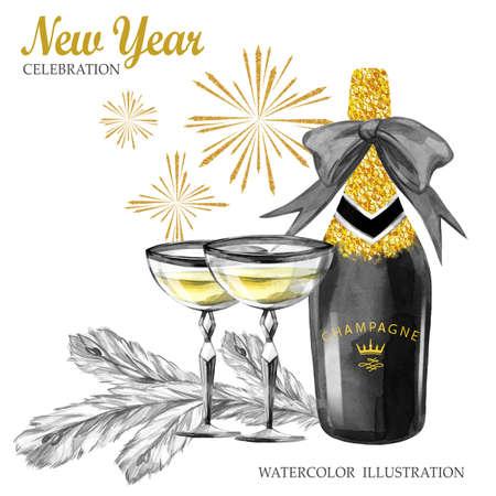 Aquarel retro illustratie. Gouden luxe stijl. Handgeschilderde fles champagne, wijnglazen, dennentakken en vuurwerk. Kerstmis, Nieuwjaarsymbool. Kan worden gebruikt bij het ontwerpen van jubileums en feestdagen. Stockfoto