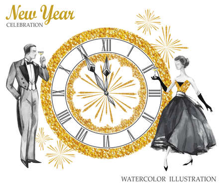Watercolor retro illustration. Golden luxury style. Hand painted man and women with champagne, jewellery clock and firework. New Year symbol. Ready for anniversary and holidays design. Stock Photo
