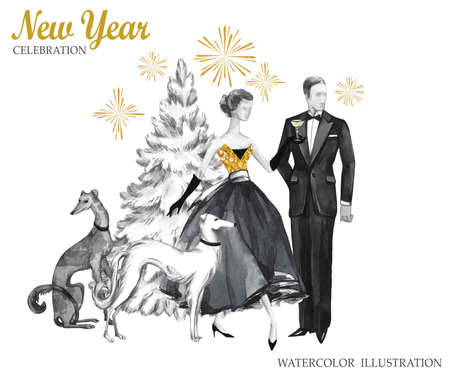 old people: Watercolor retro illustration. Golden luxury style. Hand painted man and women with champagne, dogs, Christmas tree and firework. New Year symbol. Ready for anniversary and holidays design.
