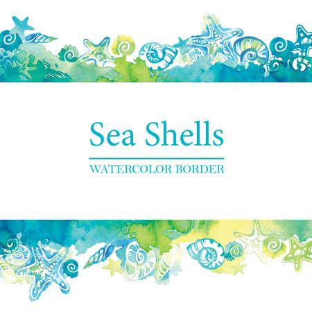 Marine border with watercolor sea shells. Sea life frame. Summer travel background. Underwater. Foto de archivo