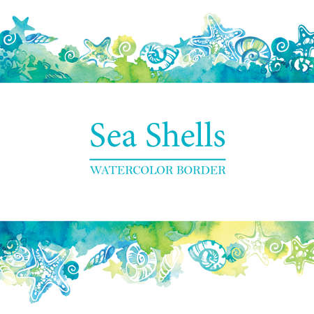 Marine border with watercolor sea shells. Sea life frame. Summer travel background. Underwater. Stockfoto