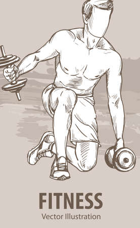 Hand sketch of a man is training with dumbbells. Vector sport illustration. Graphic silhouette of the athlete on background design.  イラスト・ベクター素材