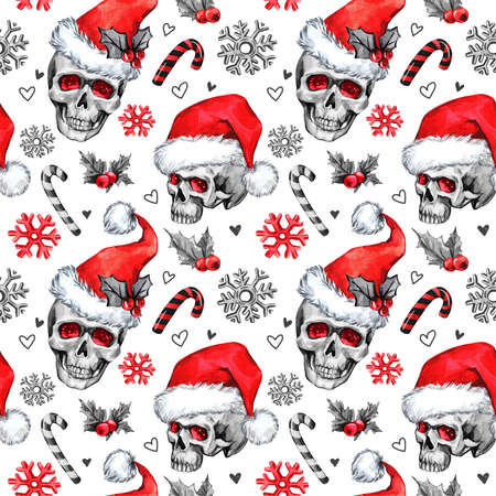 Watercolor seamless pattern with sketchy skulls in Santa hat, snowfalkes, leaves. Cretive New Year. Celebration illustration. Can be use in winter holidays design, posters, invitations, cards.
