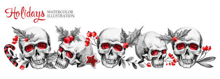 Watercolor horizontal garland of sketchy skulls, berries, leaves. Cretive New Year. Celebration illustration. Can be use in winter holidays design, posters, invitations. 写真素材