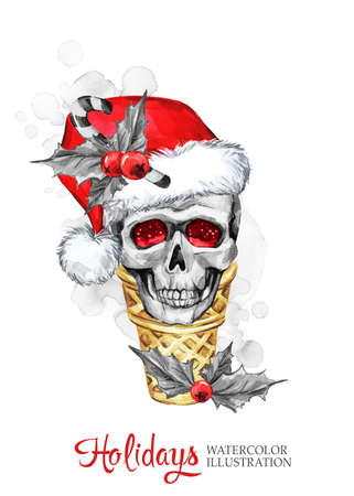 Watercolor illustration. Winter holidays card. Hand painted waffle cone with skull in Santa hat. Funny ice cream dessert. Christmas, New Year symbol. Stock Photo