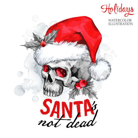 not painted: Watercolor illustration. Winter card. Hand painted monster skull in Santa hat. Words Santa is not dead. Christmas, New Year symbol. Can be use in winter holidays design, posters, invitations, cards. Stock Photo