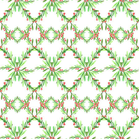 Watercolor geometric seamless pattern with leaves and berries. New Year. Merry Christmas. Celebration illustration. Can be use in winter holidays design, posters, invitations, cards.