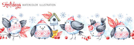 Watercolor seamless horizontal garland. Funny birds, birdhouse, berries, leaves and snowflakes. Cretive New Year. Christmas illustration. Can be use in winter holidays design, posters, invitations.