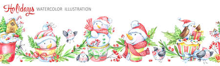 Watercolor seamless horizontal garland. Funny snowmens, birds, cup, berries, leaves and gifts. Cretive New Year. Merry Christmas illustration. Can be use in winter holidays design, poster, invitation. Stock Photo