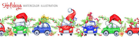Watercolor seamless horizontal garland of funny cars in Santa hat, berries, leaves and gifts. Cretive New Year. Christmas illustration. Can be use in winter holidays design, posters, invitations. Stock Photo