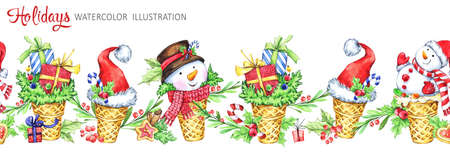 Watercolor seamless horizontal garland. Waffle cone with snowmans, Santa hats and gifts. Funny dessert. Cretive New Year. Christmas illustration. Can be use in winter holidays design, posters. Stock Photo