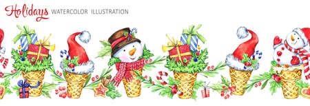 Waterverf naadloze horizontale slinger. Wafelkegel met sneeuwmannen, kerstmutsen en geschenken. Grappig dessert. Cretive New Year. Kerst illustratie. Kan worden gebruikt in de winter vakantie ontwerp, posters. Stockfoto